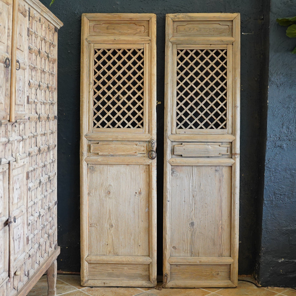 Set of 2 Antique Panel Screens - 85 X 181cm - Decor