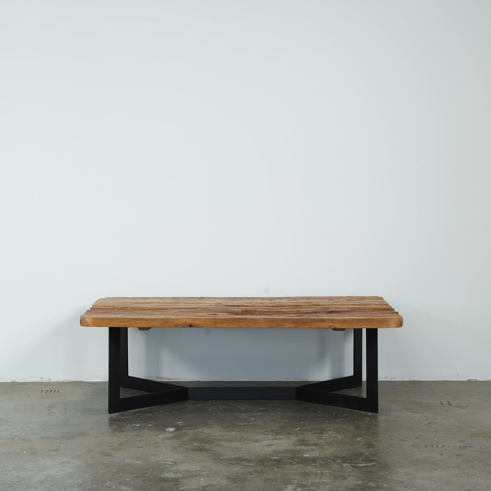 Yoko Recycled Teak Coffee Table - 140 X 90 X 43cm / Black /