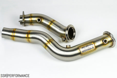 "S55 3"" Stainless Steel Catless Downpipes for 2014+ BMW M3 / M4"