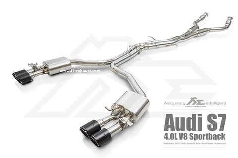 FI Exhaust Audi S7 Sportback & S6 (C7) Front Pipe + Mid X Pipe + Rear Mufflers + Quad Tips - SSR Performance