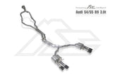 FI Exhaust Audi S4/S5 (B9) Front Pipe + Mid X Pipe + Rear Mufflers + Quad Silver Tips - SSR Performance