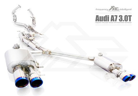 FI Exhaust Audi A7 3.0T Sportback Front Pipe + Mid X Pipe + Rear Mufflers + Quad Tips - SSR Performance