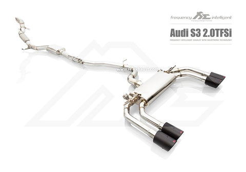 FI Exhaust Audi S3 (8V) Sedan Mid Pipe + Valvetronic Mufflers + Quad Tips