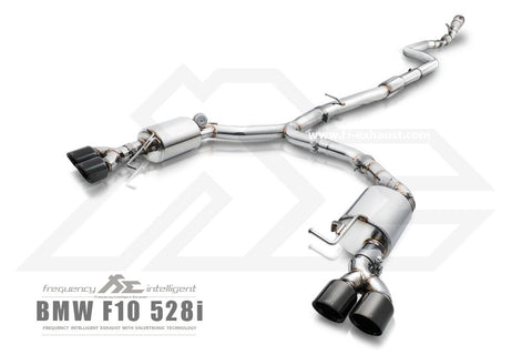 FI Exhaust BMW 520i/528i F10/F11 Front Pipe + Mid Pipe + Valvetronic Mufflers + Quad Tips - SSR Performance