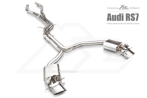 FI Exhaust Audi RS7 Sportback Front Pipe + Mid X Pipe + Rear Mufflers + Dual Tips - SSR Performance