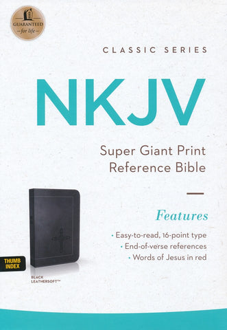 NKJV Super Giant Print Reference Bible, Black Leathersoft w Index