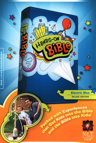 NLT Hands On Bible Updated Edition, Leatherlike Electric Blue
