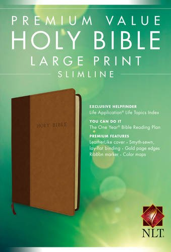ROCKONLINE | New Creation Church | NCC | Joseph Prince | ROCK Bookshop | ROCK Bookstore | Star Vista | NLT Premium Value Slimline Large Print Bible, TuTone LeatherLike, Brown/Tan | Slimline Bible | Christian Living | Free delivery for Singapore Orders above $50.