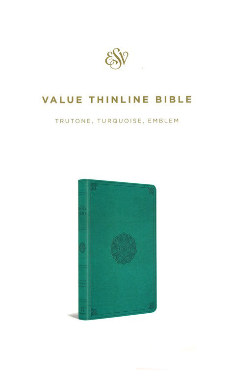 ROCKONLINE | New Creation Church | NCC | Joseph Prince | ROCK Bookshop | ROCK Bookstore | Star Vista | ESV | Thinline Bible | ESV Thinline Bible TruTone Turquoise Emblem | Free delivery for Singapore Orders above $50.