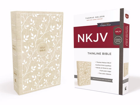 NKJV Thinline Bible, White Oatmeal Cloth, Hardcover