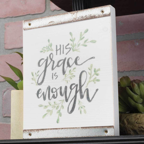 White Wood Block Sign – His Grace Is Enough