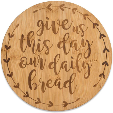 Bamboo Trivet Serving Tray, Daily Bread