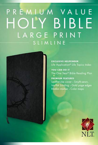 NLT Premium Value Slimline Large Print Bible (Onyx / Crown of Thorns)
