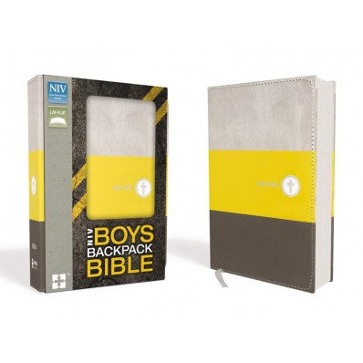 NIV Boys Backpack Bible, Leathersoft Yellow/Charcoal