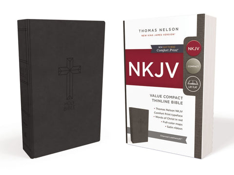 NKJV Compact Thinline Bible, Black Leathersoft