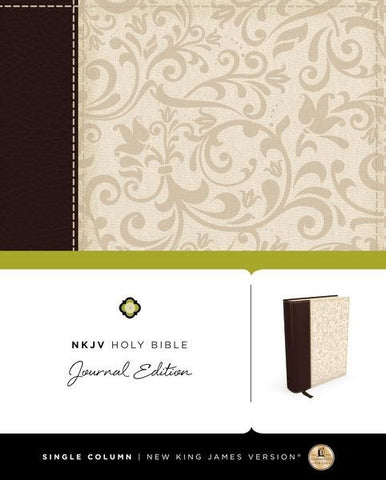 NKJV Holy Bible Journal Edition (Linen/Leather-like, Brown/Cream)