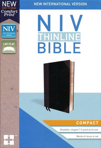 NIV Thinline Compact Bible, Black/Grey Leather