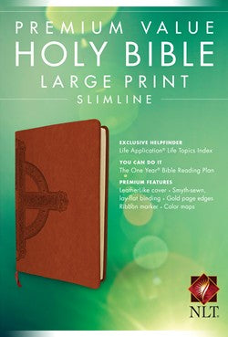 NLT Premium Value Slimline Large Print Bible, Sienna Cross, Leatherlike