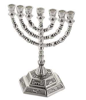 "Silver Plated 5"" Menorah"