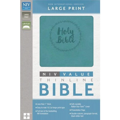 NIV, Thinline Bible, Large Print, Turquoise