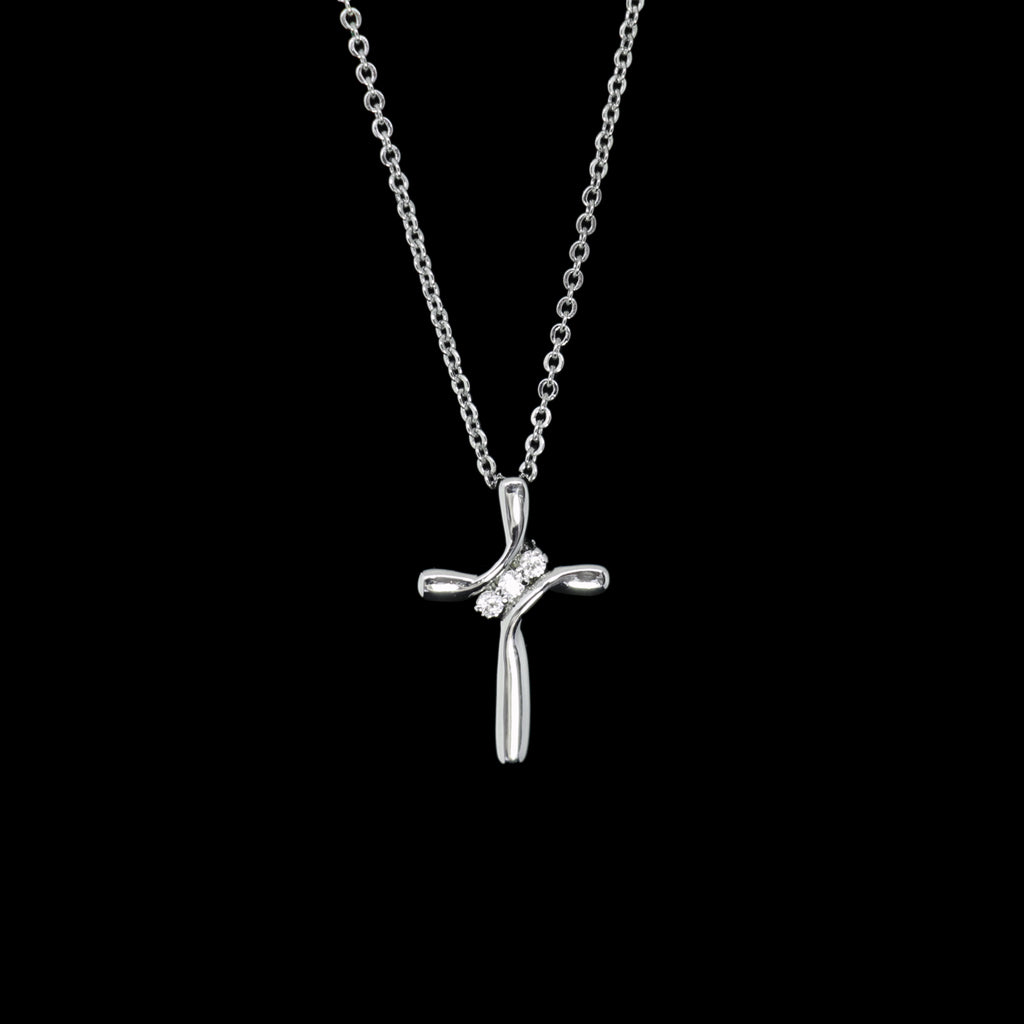 ROCKONLINE | New Creation Church | NCC | Joseph Prince | ROCK Bookshop | ROCK Bookstore | Star Vista | Lifestyle | Mothers | Ladies | Gift | Necklace | Earrings | Bangle | Scriptures | Swarovski Crystals | Brilliance Trinity Cross, White Gold by Jacob Rachel | Free delivery for Singapore Orders above $50.