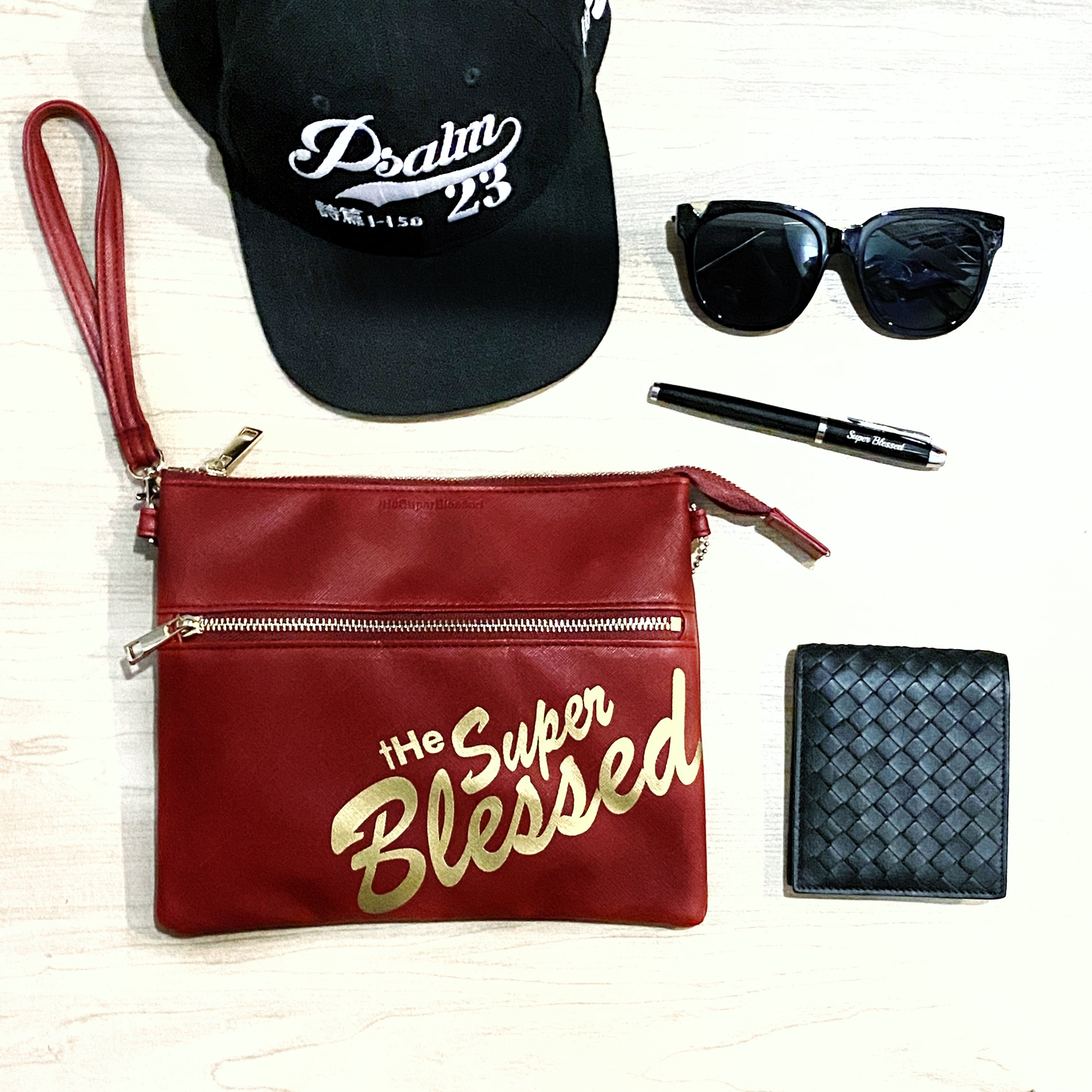 ROCKONLINE | New Creation Church | Joseph Prince | The Super Blessed Sling Clutch Bag | Accessories | Fashion | Apparel | Youth | Teen | Boys | Girls | Scriptures | Blessed | Psalms 91  | Embroidery | Christian Gifts | The Super Blessed | Rock Bookshop | Rock Bookstore | Star Vista | Free Delivery for Singapore Orders above $50.