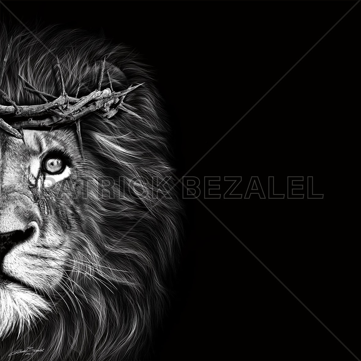 ROCKONLINE | New Creation Church | Joseph Prince | Star Vista | Rock Bookshop | Rock Bookstore | Art of Faith | Christian Creative | Christian Art | DIASEC™ Print | Hand-drawn Art | Fine Art | Patrick Bezalel | Crown of Thorns - Lion Hyperrealism Diasec Print | Free delivery for Singapore Orders above $50.