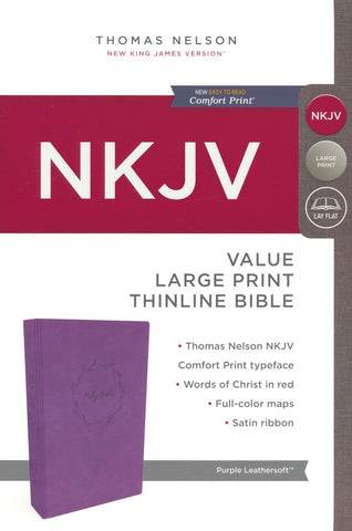 NKJV Value Thinline Bible Large Print, Purple