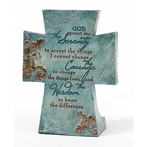 ROCKONLINE | New Creation Church | NCC | Joseph Prince | ROCK Bookshop | ROCK Bookstore | Star Vista | Home Decor | House Warming | Home Display | Home Blessings | Scriptures | Faith In God | Small Gifts | Cross | Serenity Prayer Resin Tabletop Cross | Free delivery for Singapore Orders above $50.