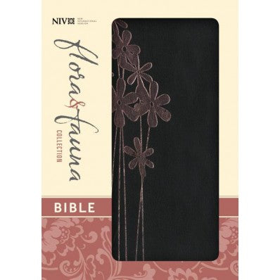 NIV Flora & Fauna Collection Bible - Black / Pink Flower