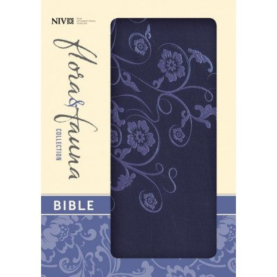 NIV Flora & Fauna Collection Bible - Marina Blue / Floral
