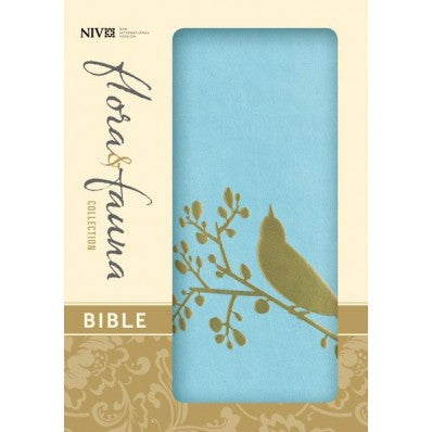 NIV Flora & Fauna Collection Bible - Turquoise / Gold Bird