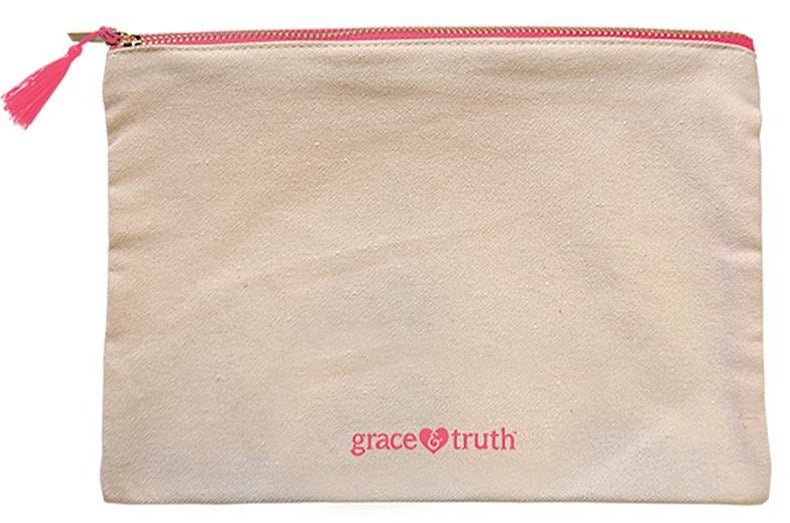 ROCKONLINE | New Creation Church | NCC | Joseph Prince | ROCK Bookshop | ROCK Bookstore | Star Vista | Lifestyle | Tote | Travel | Canvas Zipper Makeup Bag | Free delivery for Singapore Orders above $50.