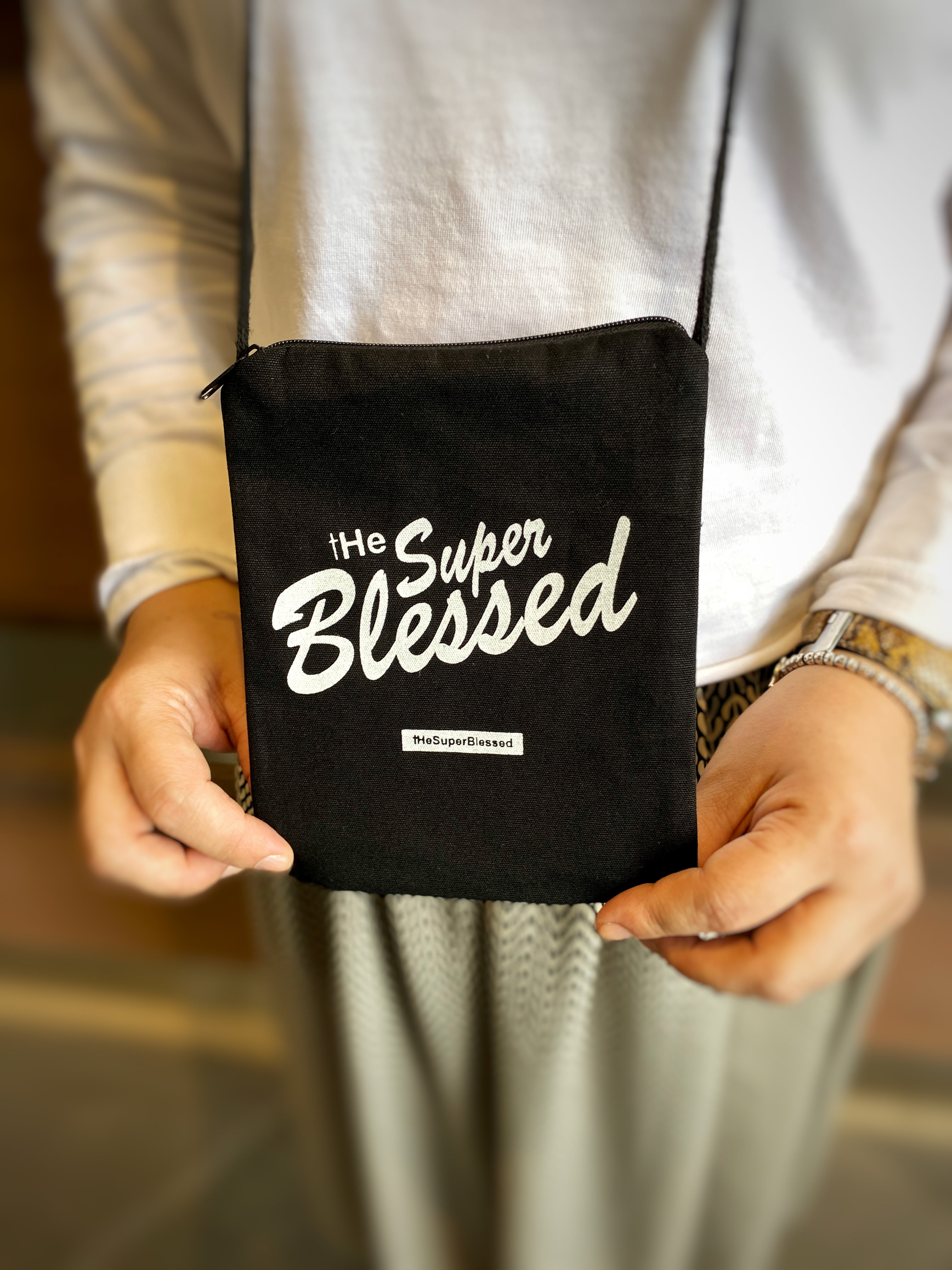 ROCKONLINE | New Creation Church | Joseph Prince | The Super Blessed Neck Sling Pouch | Accessories | Fashion | Apparel | Youth | Teen | Boys | Girls | Scriptures | Blessed | Psalms 91  | Embroidery | Christian Gifts | The Super Blessed | Rock Bookshop | Rock Bookstore | Star Vista | Free Delivery for Singapore Orders above $50.