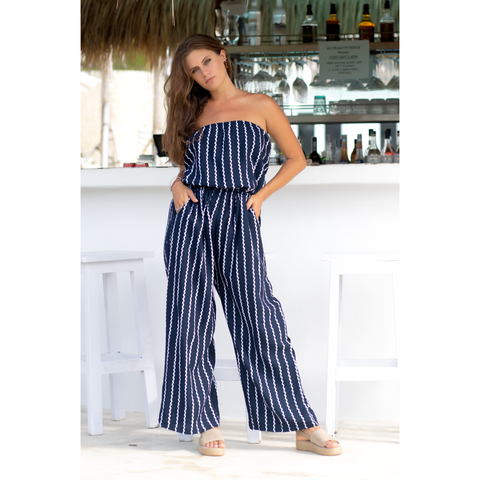Connie Jumpsuit - Navy/White Wave