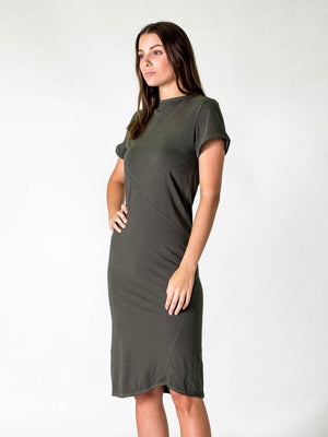 Short Sleeve Midi Dress Olive