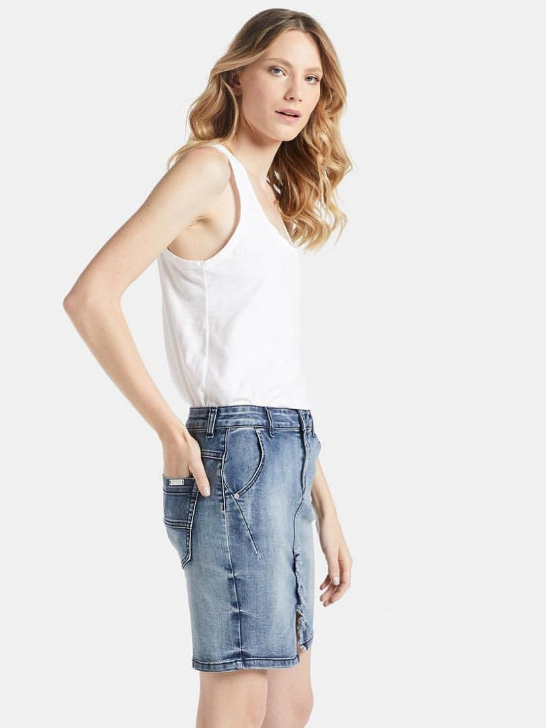 Stone Wash Denim Skirt