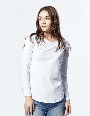 Long Sleeve Saddle Hem Tee - White