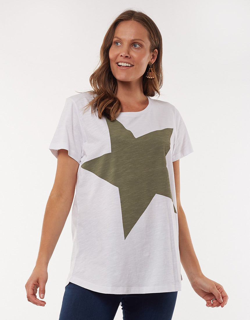 Super Star Tee - White/Khaki