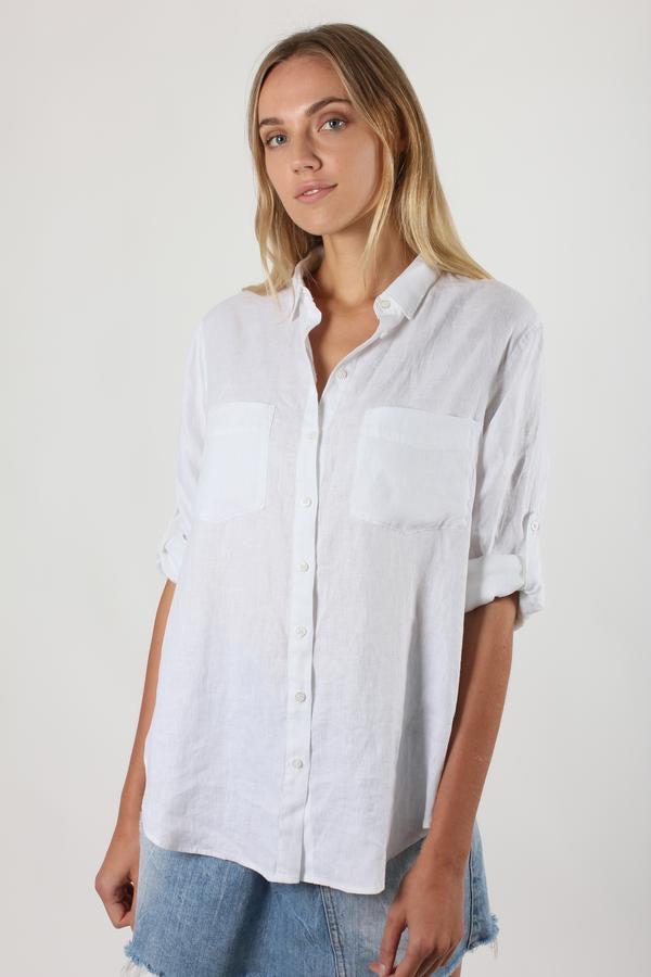 The Linen Boyfriend Shirt - White