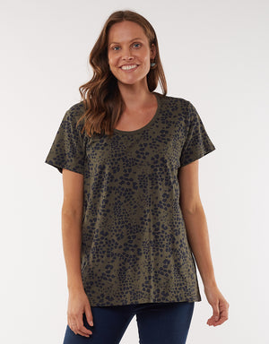 Wild at Heart Tee - Dusty Olive Animal