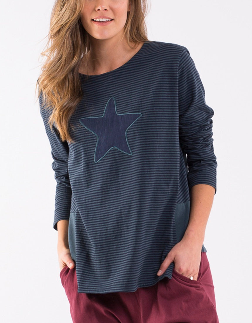 Shooting Star Long Sleeve Tee -Navy/Teal