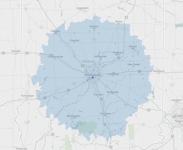 Indiana Delivery Map