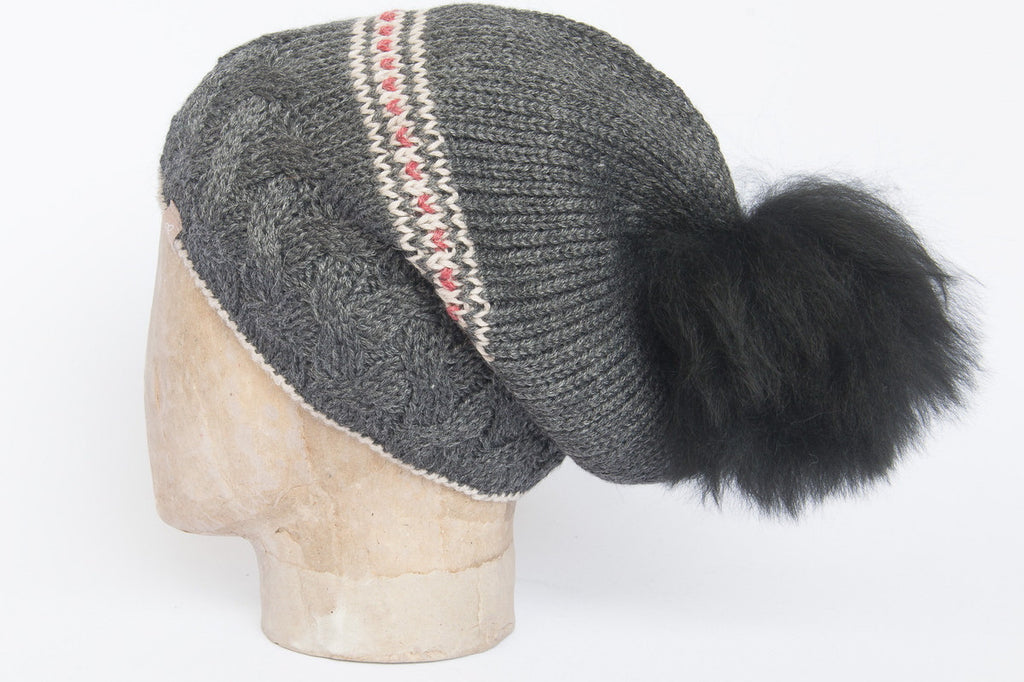 Alpaca wool cable knit fur pompom hat  charcoal grey