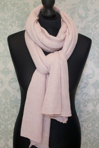 Alpaca jersey knit travel shawl - Pink