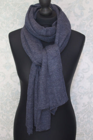 Alpaca jersey knit travel shawl - Indigo
