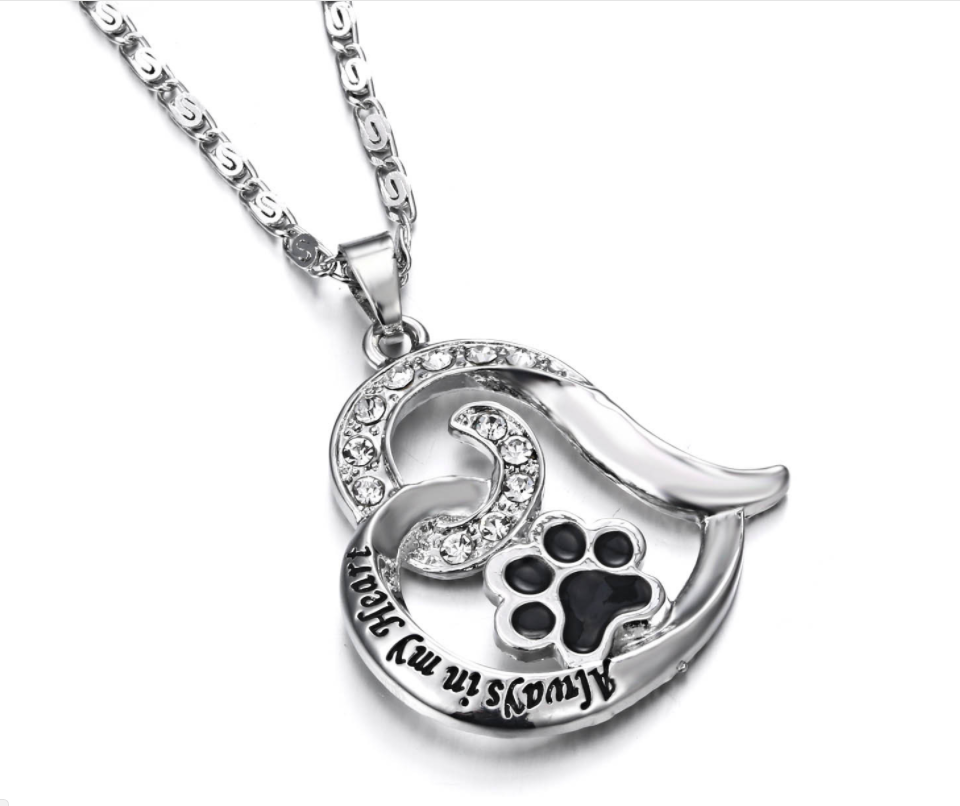 memorial print with pet pawprint paw copy custom dog necklace of actual loss engraved wings angel gold jewelry