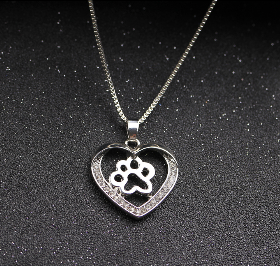 Heart Shaped Necklace with Paw Print