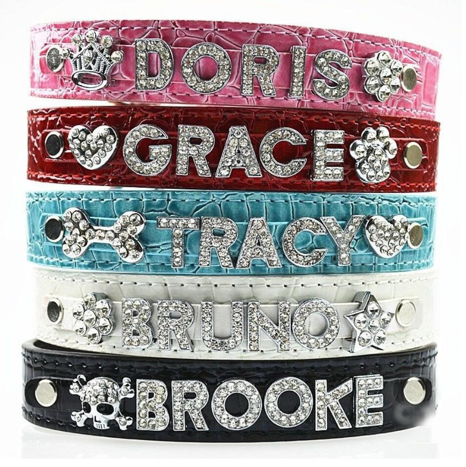 Personalized Rhinestone Pet Leather Collar