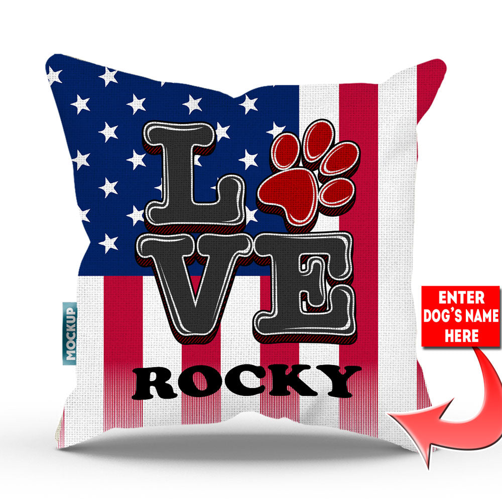 "Personalized 4th July Love Paw Print Throw Pillow Cover - 18"" x 18"""